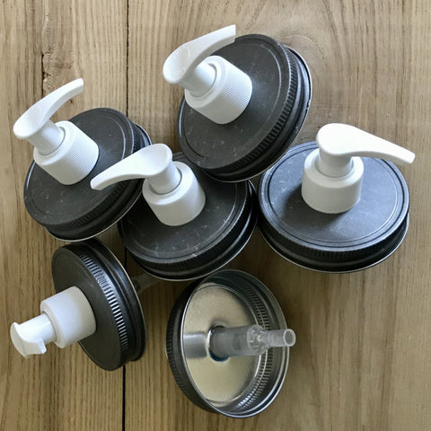 Wholesale Value Pack : Pewter Lid with White Pump Mason Jar Soap Dispenser Pump Lids