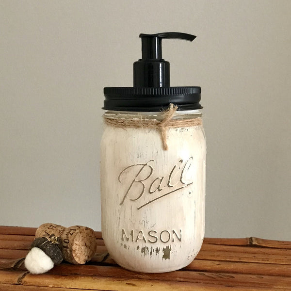 Antique Ivory Ball Mason Jar Soap Dispenser - Your Choice of Lid Color