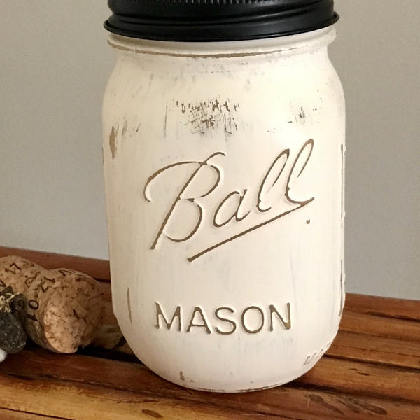 Ivory Ball Mason Jar Soap Dispenser - Your Choice of Lid Color