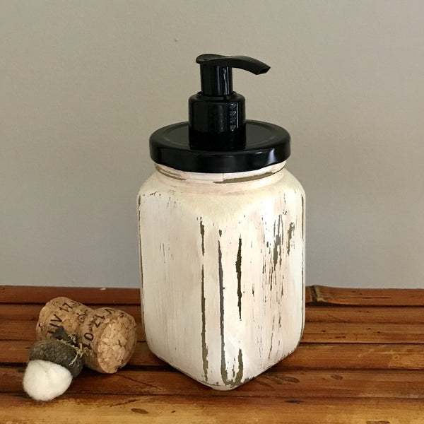 Antique Ivory French Square Hand Painted Soap Dispenser