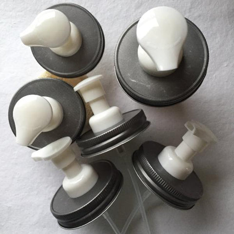 Wholesale Pack :  Foamers :  Antique Pewter & White Mason Jar Foaming Soap Dispenser Pump Lids