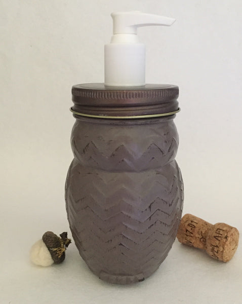 Distressed Brown Owl Mason Jar Soap Dispenser