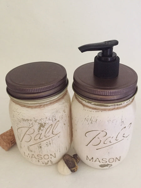 Distressed Antique White Mason Jar Soap Dispenser Set