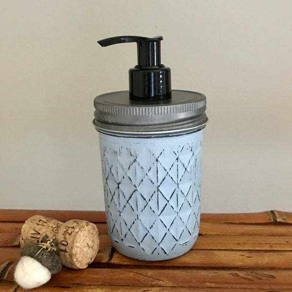 Slate Blue Half Pint Quilted Mason Jar Soap Dispenser - Your Choice of Lid Color