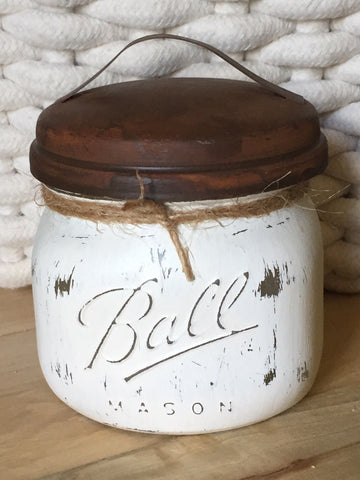 Distressed Mason Jar Canister