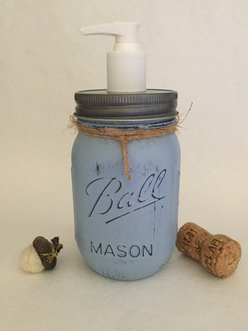 Distressed Blue Mason Jar Soap Dispenser