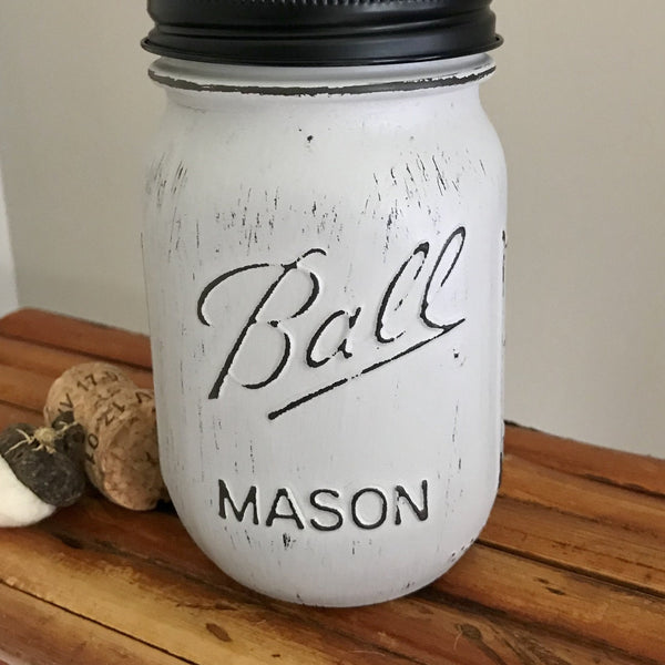 Gray Ball Mason Jar Soap Dispenser - Your Choice of Lid Color