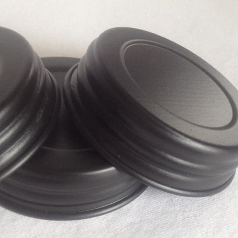 4 Mason Jar Replacement Lids - Basic Black