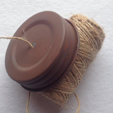 Mason Jar String Dispenser Lid - Rusty, Primitive Lid With Jute Twine