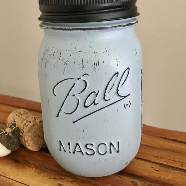 Slate Blue Ball Mason Jar Soap Dispenser - Your Choice of Lid Color