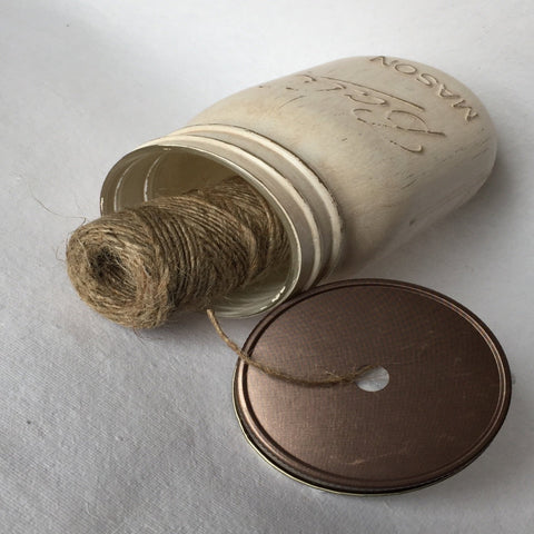 Mason Jar String Dispenser Lid - Weathered Bronze Lid