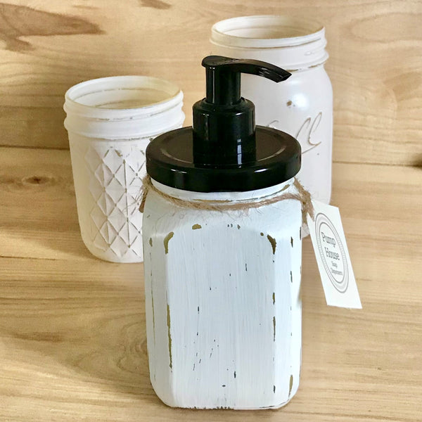 Ivory French Square Hand Painted Soap Dispenser