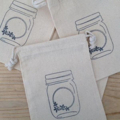 Mason Jar Muslin Bag : Set of 4