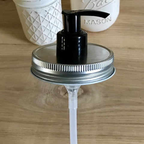 1 Silver & Black Mason Jar Soap Dispenser Pump Lid