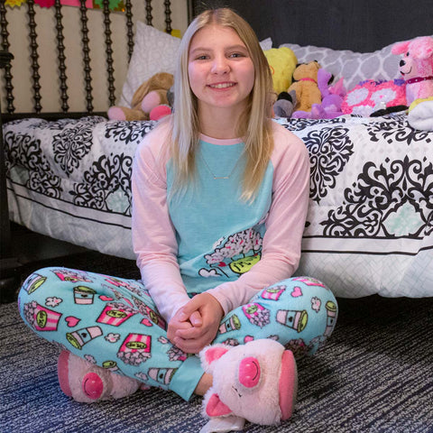 Pictured is Paige in her favorite pair of pajamas.