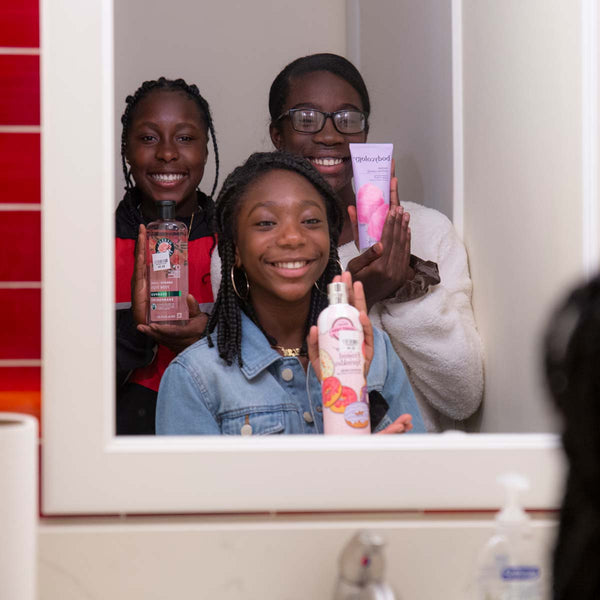 Pictured are Bridget, Adreanna and Felicia with their favorite personal care products and feel great.