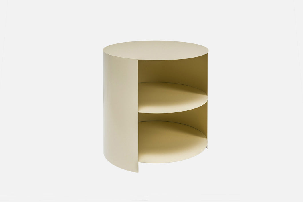 Hide side table ivory