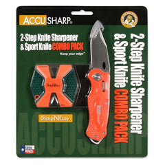 AccuSharp SharpNEasy Two-Step Blaze Orange Sharpener and Knife