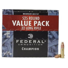Federal Champion .22 LR 36 Grain Copper Plated Lead HP 525 Rounds