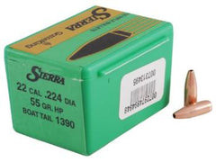 Sierra Gameking Bullet .22 Caliber High Velocity (.224 Diamter) 55 Grain HPBT 100 Pack