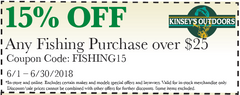 15% OFF Any Fishing Purchase over $25