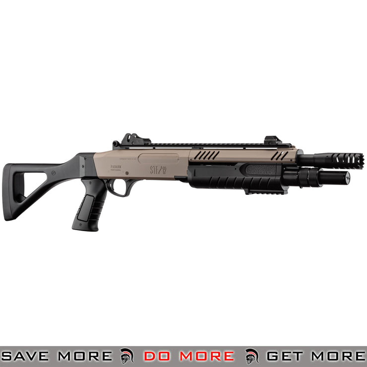 FABARMS STF12 Pump Action Tri Shot Spring Shotgun Airsoft Gun [ SG-LR3003 ] - Dark Earth, Compact