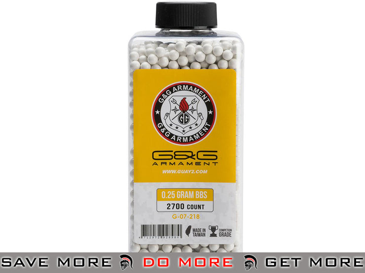 G&G Airsoft  Precision 6mm Airsoft BBs 0.25g White (2700 rounds) 0.20g BBs- ModernAirsoft.com
