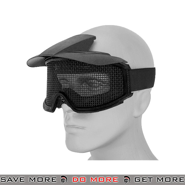 Lancer Tactical Steel Wire Mesh Goggles w/ Visor 2610B - Black Head - Goggles- ModernAirsoft.com