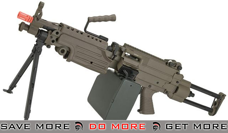 A&K Full Metal Tan M249 Para SAW Airsoft AEG with Electric Drum Magazine A&K- ModernAirsoft.com