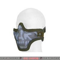 Lancer Tactical Full Metal Mesh Lower Face Mask AC-103G2 - OD Green Skull Face Masks- ModernAirsoft.com