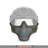 Lancer Tactical Full Metal Mesh Lower Face Mask AC-103GH - OD Green, Helmet Compatible Face Masks- ModernAirsoft.com
