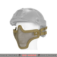 Lancer Tactical Full Metal Mesh Lower Face Mask AC-103TH - Tan, Helmet Compatible Face Masks- ModernAirsoft.com