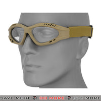 Lancer Tactical ZERO Polycarbonate Clear Lens Goggles AC-106TG - Tan Head - Goggles- ModernAirsoft.com