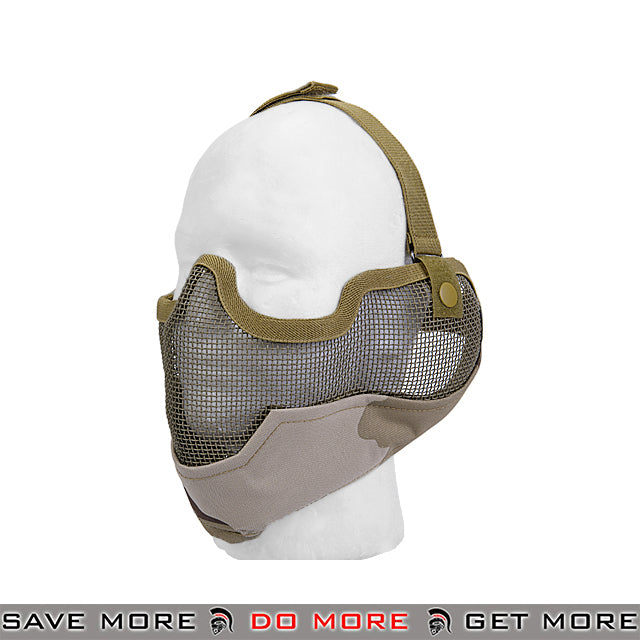 Lancer Tactical Ear Protection Mesh Padded Nylon Lower Face Mask AC-108D3 - Three Color Desert Face Masks- ModernAirsoft.com