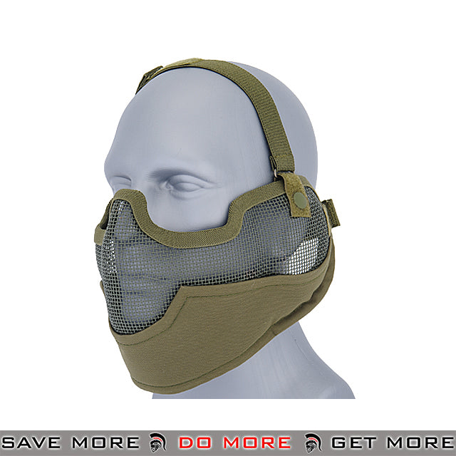 Lancer Tactical Ear Protection Mesh Padded Nylon Lower Face Mask AC-108G - OD Green Face Masks- ModernAirsoft.com