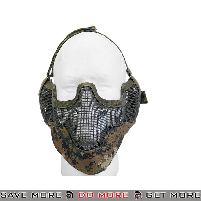 Lancer Tactical Ear Protection Mesh Padded Nylon Lower Face Mask AC-108M - Digital Woodland Face Masks- ModernAirsoft.com