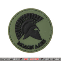 Lancer Tactical Velcro Morale Patch AC-110A - PVC Molon Labe Spartan Helmet, OD Green Patch- ModernAirsoft.com