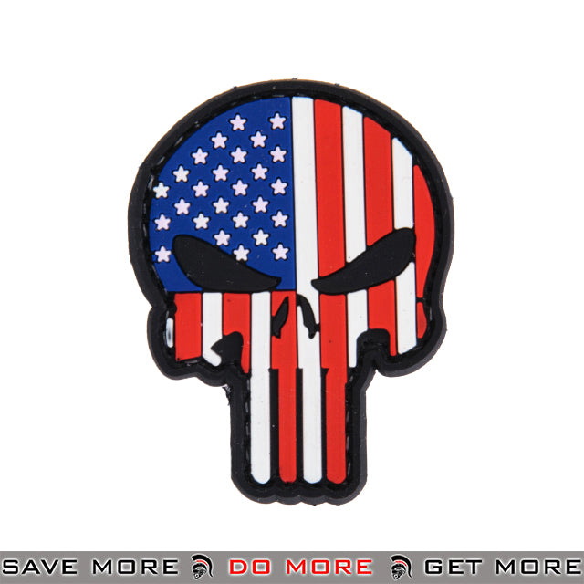 Lancer Tactical Velcro Morale Patch AC-110G - PVC American Flag Punisher Skull Patch- ModernAirsoft.com