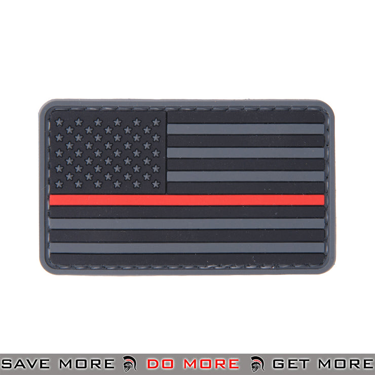 Lancer Tactical Velcro Morale Patch AC-110R - US Flag, Thin Red Line Patch- ModernAirsoft.com