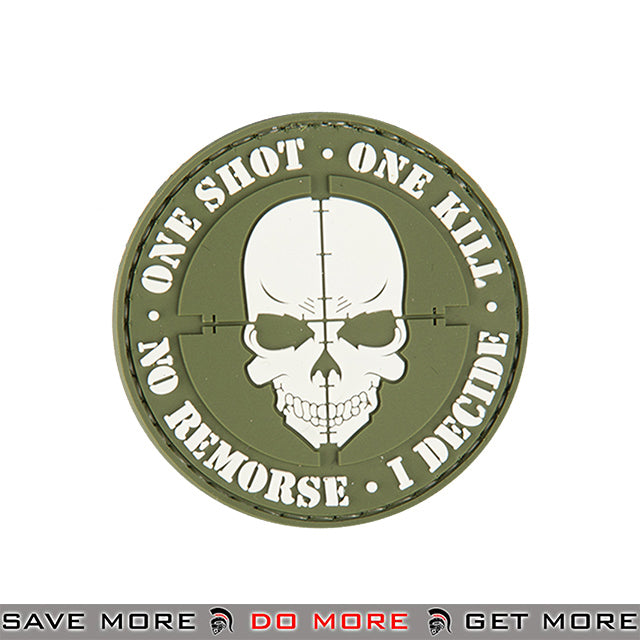 Lancer Tactical Velcro Morale Patch AC-130E - PVC One Shot One Kill, Green Patch- ModernAirsoft.com