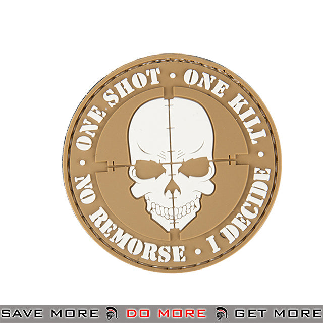 Lancer Tactical Velcro Morale Patch AC-130F - PVC One Shot One Kill, Tan Patch- ModernAirsoft.com