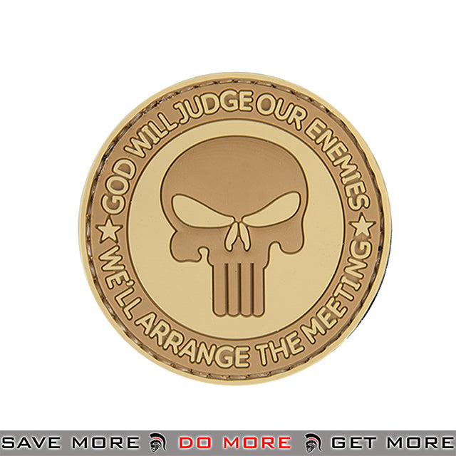 Lancer Tactical Velcro Morale Patch AC-130T - PVC God Will Judge, Tan Patch- ModernAirsoft.com