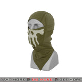 Lancer Tactical Glow in the Dark Skull Balaclava AC-176G - OD Green Head - Hats- ModernAirsoft.com