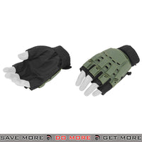 ACM Airsoft Paintball Armored Reinforced Assault Half Finger Gloves AC-223 - OD Green Gloves- ModernAirsoft.com