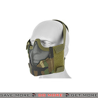 Emerson Tactical V8 Metal Mesh Half Mask - Woodland Camo Face Masks- ModernAirsoft.com