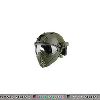 WoSporT Tactical Piloteer Bump Helmet & Mask w/ Adapter - OD Green Head - Helmets- ModernAirsoft.com