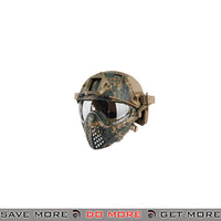 WoSporT Tactical Piloteer Bump Helmet & Mask w/ Adapter - Woodland Digital Head - Helmets- ModernAirsoft.com