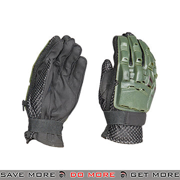 ACM Airsoft Paintball Armored Reinforced Assault Full Finger Gloves AC-815 - OD Green Gloves- ModernAirsoft.com