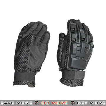 ACM Airsoft Paintball Armored Reinforced Assault Full Finger Gloves AC-816 - Black Gloves- ModernAirsoft.com