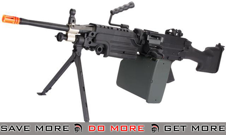 A&K M249 MK II Full Metal SAW Airsoft AEG w/ Electric Drum Mag M60 / M249 / MK46 / M240- ModernAirsoft.com